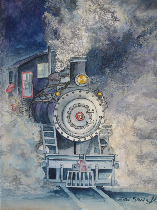 Can You hear the train a comin? $512.00 Watercolor/ink/pastel. SOLD
