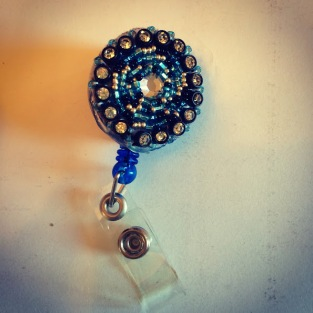 beaded badge holder