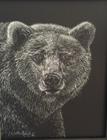 Grizzly Scratchboard