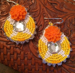Beaded orange rose earrings